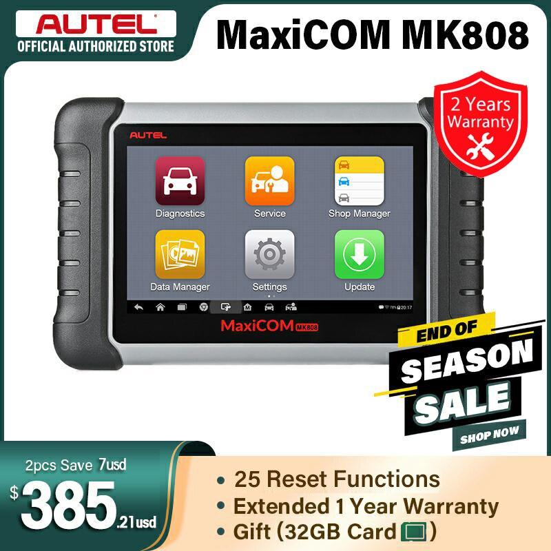 Диагностический сканер Autel MaxiCOM MK808, сканер MX808 OBD OBDII для комплексной диагностики систем, автомобильный планшетный сканер Autel
