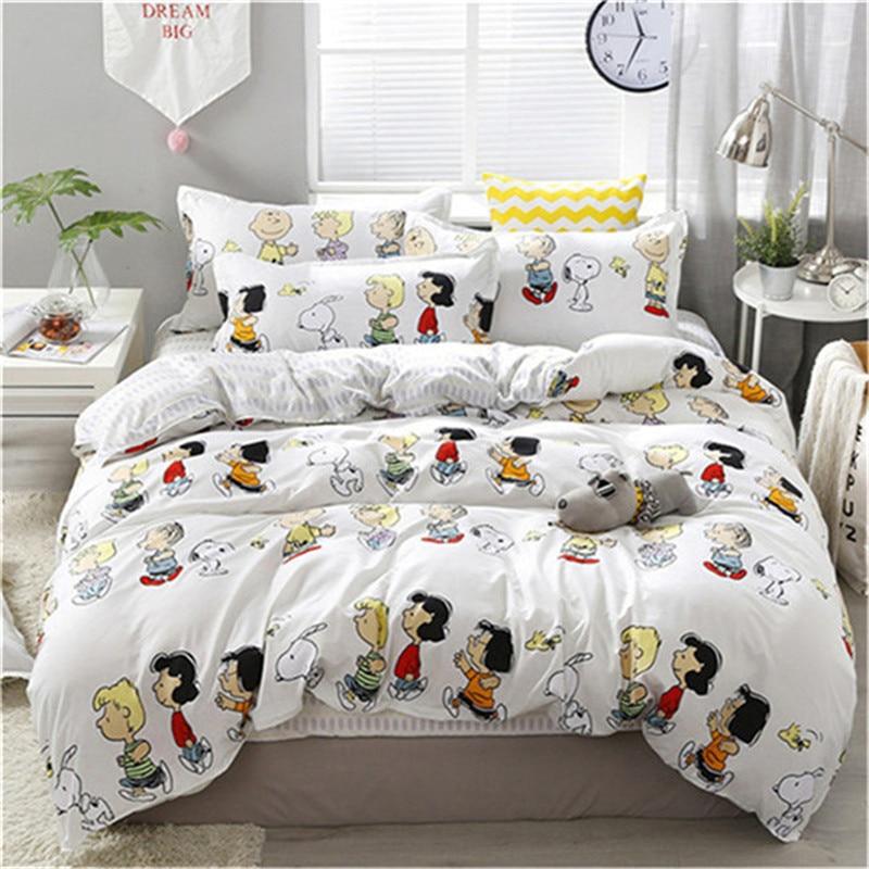 2019 3/4 Uds juego de cama de invierno feliz familia estampado de dibujos animados edredón cama sábana plana funda de almohada textil hogar Dropshipping