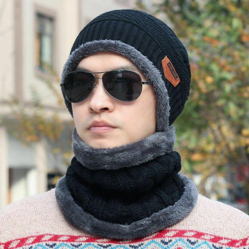 2019 moda Tendencia Invierno mujer hombre Camping lana gorro bufanda holgada caliente más nuevo esquí gorras Neckerchief 2 uds conjuntos ropa Casual
