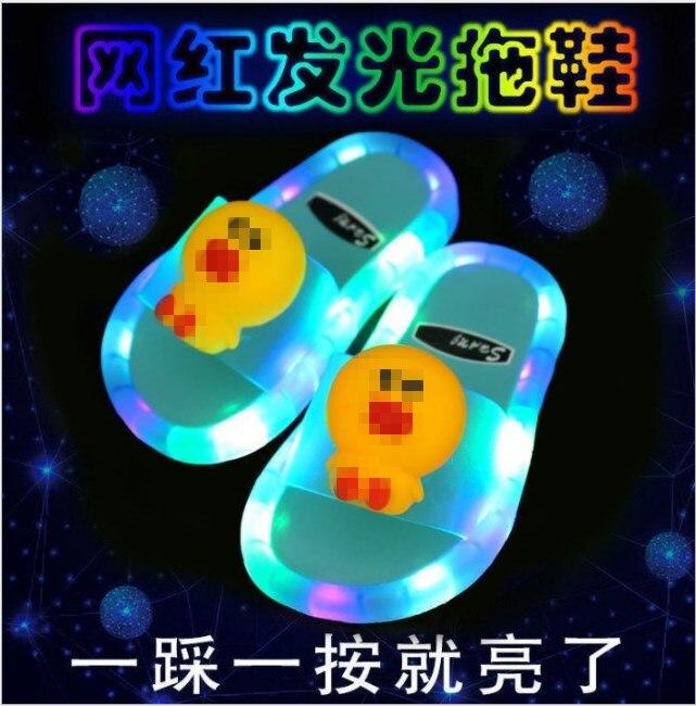2021 Footwear Luminous Jelly Summer Children's LED Slipper Girls Slippers PVC Non-slip Beach Sandals Kids Home Bathroom yellow
