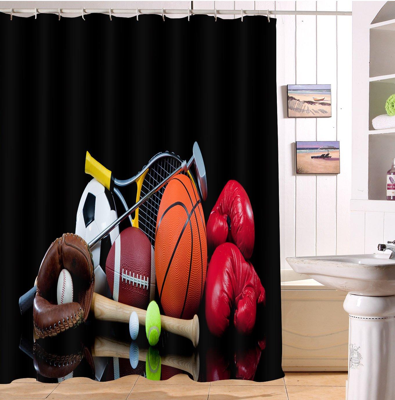 Jogo de bola beisebol basquete boxe futebol cortinas chuveiro para banheiro, tema esportes decoração cortina, 70 w x 78 l banheiro