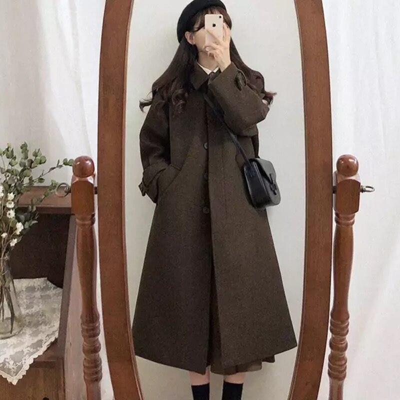 New Coat Autumn And Winter Wool Women's Woolen Coat Temperament Medium Long Small Thickened Korean V
