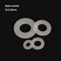 white nylon plastic flat washer plane spacer insulation seals gasket ring m2 m2 5 m3 m4 m5 m6 m8 m10 m12 m14 m16 m18 m20 m24