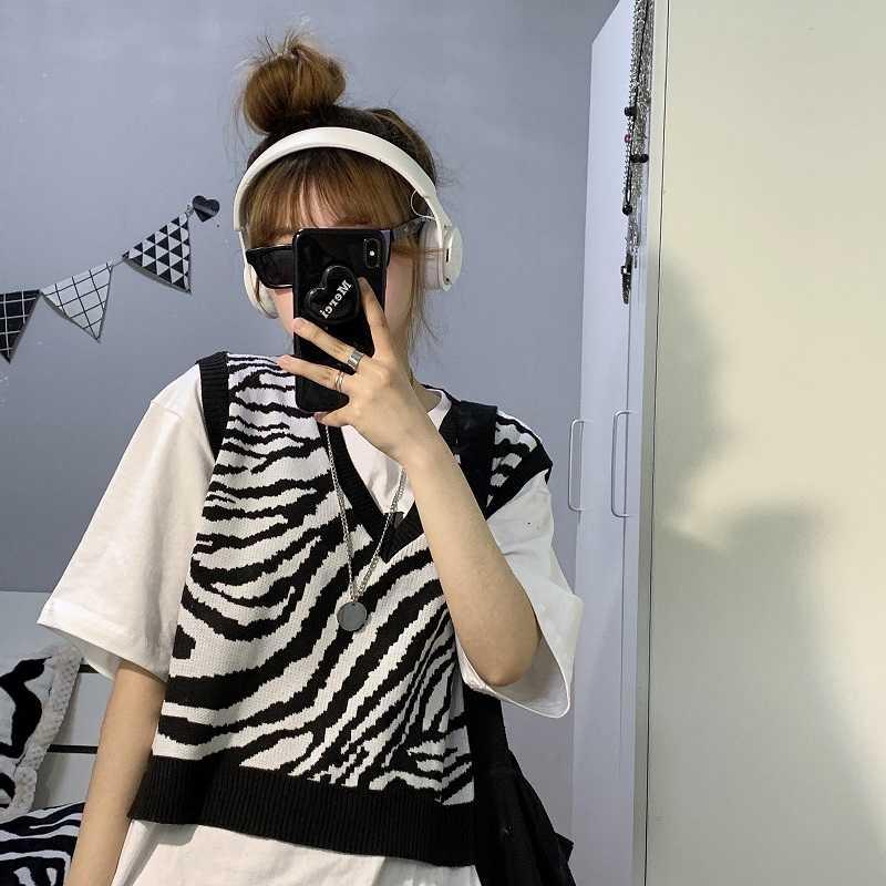 Korean Sweater Vest for Women Spring and Summer New Korean Style Sense of Design Leopard Print Vest