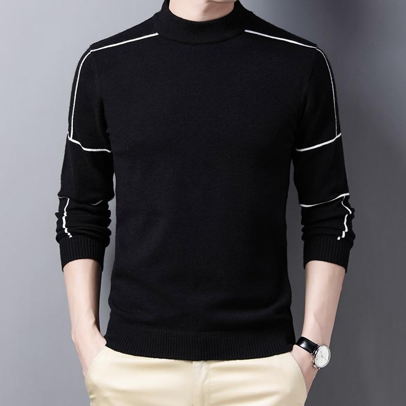 Мужской брендовый вязаный пуловер на осень и зиму, мужские Модные деловые повседневные облегающие теплые шерстяные свитера
