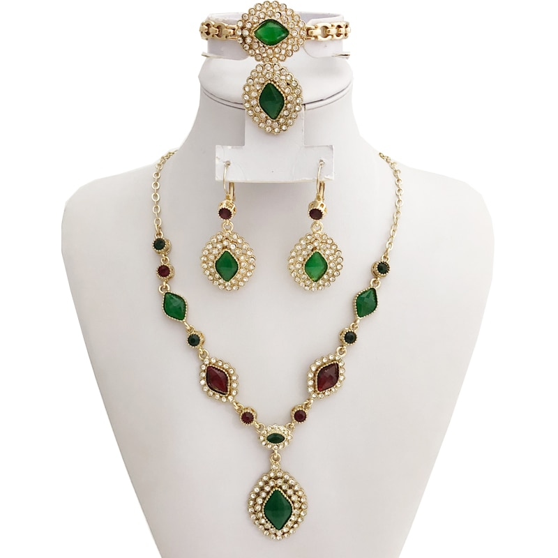 Árabe de oro de la joyería de joyas de Color 4-Set pendiente de anillo de pulsera de collar de Marruecos étnicos boda juegos de joyería Kaftan Bijoux regalo
