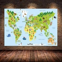 nordic animals world map canvas painting nursery posters and prints cartoon wall art pictures cuadros for kids bedroom unframed