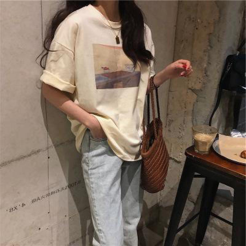 2021 Summer Korean Loose Round Neck Short-sleeved T-shirt Women's Top Casual All-match Women's Retro Oil Painting