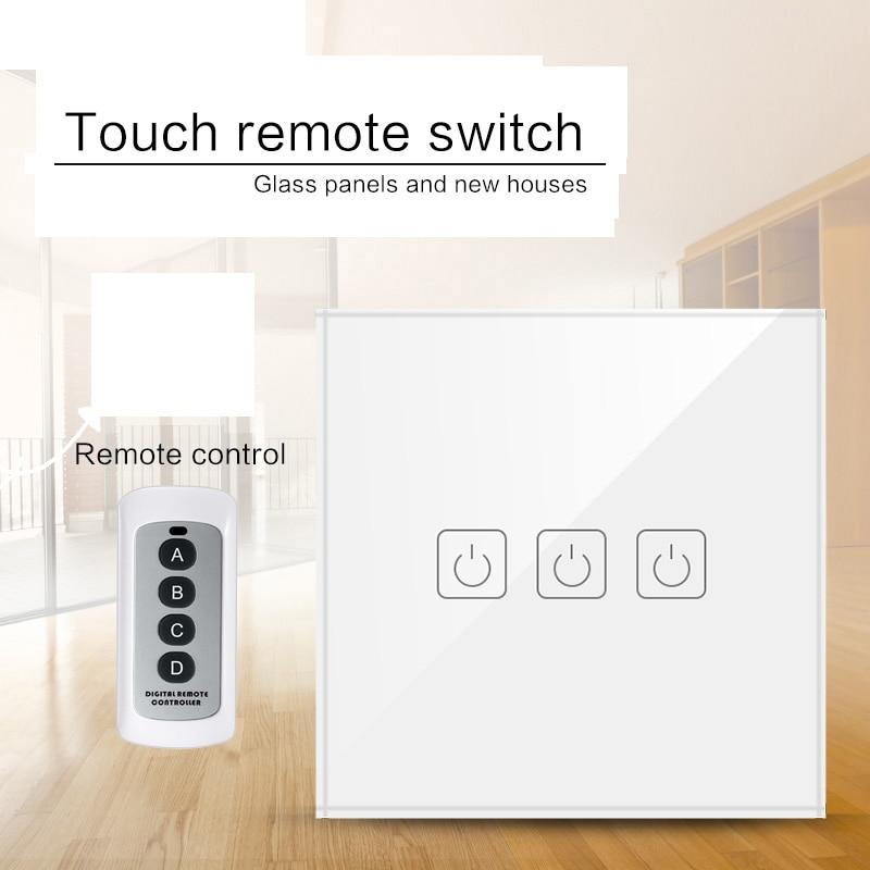 Padrão da ue/reino unido 1/2/3 gang interruptores de luz controle remoto sem fio, casa inteligente rf433 interruptor toque parede controle remoto
