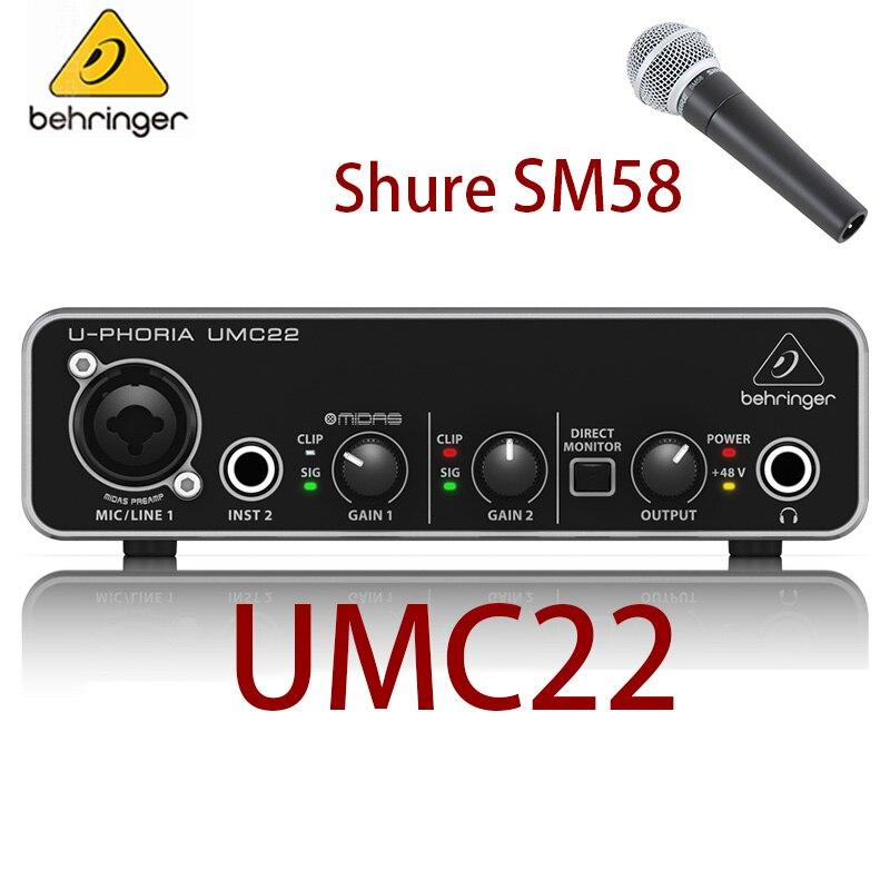 Dinâmico para Microfone Sm58 com Fio Shure Profissional Microfone Vocal Cardióide Ktv Behringer Umc22