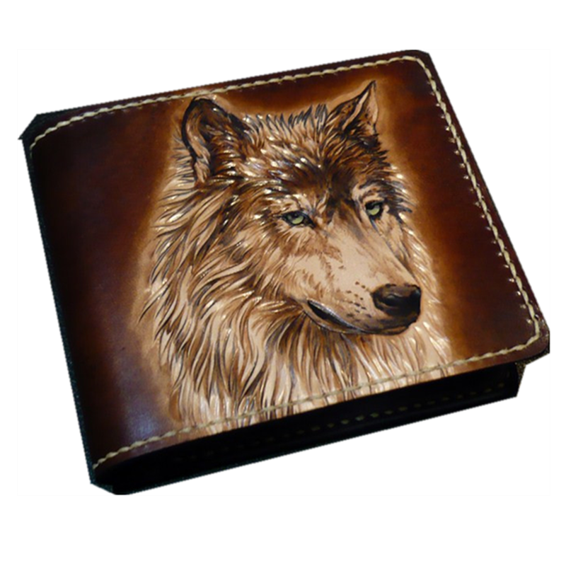 Hand Engraving Short Brown Cow Leather Hand Carved Wolf Wallets Purses Men Clutch Vegetable Tanned Leather Wallet Card Holder