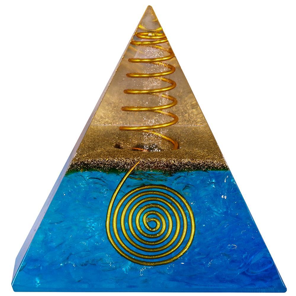 TUMBEELLUWA roche Quartz pierre Orgone pyramide générateur dénergie, guérison cristal Point Figurine décor Reiki Wicca équilibrage 1.96