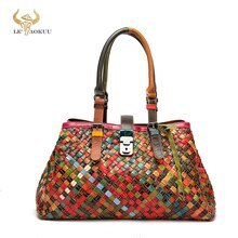 2021 Colorful Genuine Leather Famous Brand Luxury Ladies Patchwork Large Purse Handbag Shoulder bag