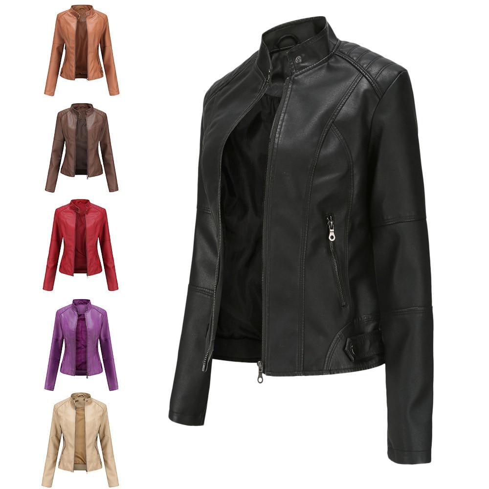 Женская кожаная куртка большого размера, Женская приталенная куртка, тонкая весенне-осенняя куртка, Женская мотоциклетная одежда, большого...