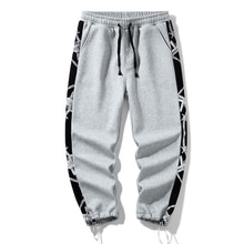 Men Sweatpants Print Loose Hip Hop Retro Trendy Males Baggy All-match Leisure Chic Denim Trousers Pu