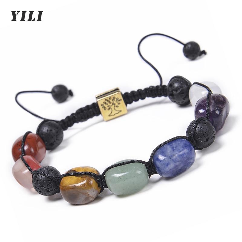 Irregular 7 Chakra Beads Bracelets Crystals Healing Tree of Life Bracelet Lava Rock Essential Oil Di
