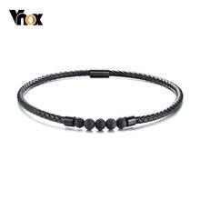 Vnox черное ожерелье-чокер из натуральной кожи для мужчин из лавового камня с магнитной застежкой, энергетические мужские ювелирные изделия