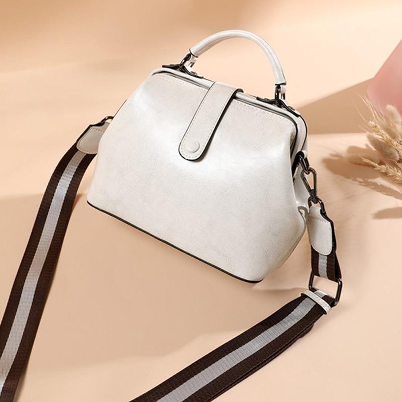 Bag for women Genuine Leather luxury Crossbody Bag 2021 classic Shoulder Bag Doctor bag Design  - buy with discount
