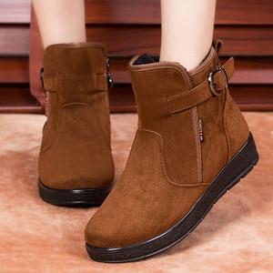 2021 Ladies Boots Chunky Winter Booties Women Female Plush Shoes Warm Woman Fashion Shoes Women Boots