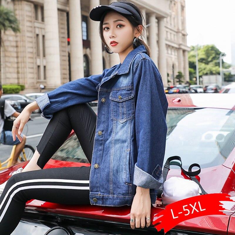 Chaquetas de talla grande para mujer primavera y otoño nuevo estilo L-5xl chaqueta de mujer vaquera de manga larga de talla grande informal con botones azules