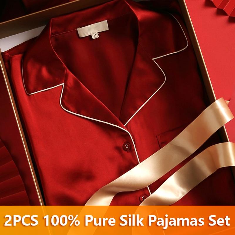 Female Real Silk Pajama Sleepwear 100% Pure Women's Pajamas Suits Long Top and Pant Silk Pajama Sets Plus Size Pijama Home Suit