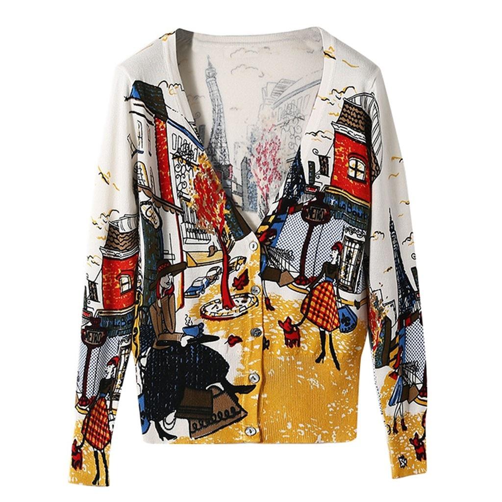 Suéter de mujer de manga larga Graffiti de impresión cárdigan abierto chaqueta frontal abrigo blusas femininas sueter mujer invierno Pull femme 9,27