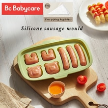 BC Babycare Silicone Cute Shape DIY Sausage Making Mould Reusable Hot Dog Maker Molds Safe Baby Food Supplement Storage BPA Free