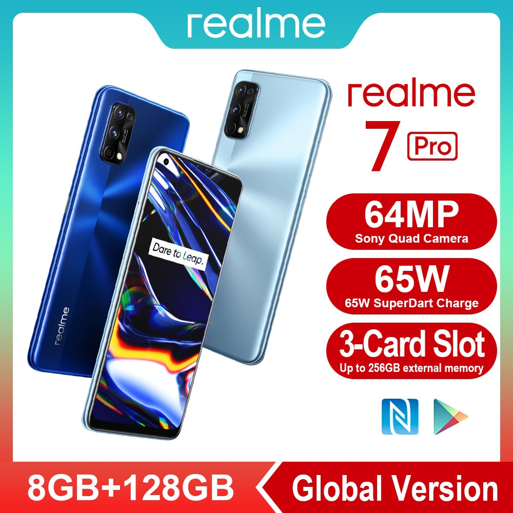 realme 7 Pro NFC Smartphones 64MP 8GB 128 GB Snapgragon 720G Gaming Cellphone 65W Fast Charge 4500mAh Smart Mobile Phones