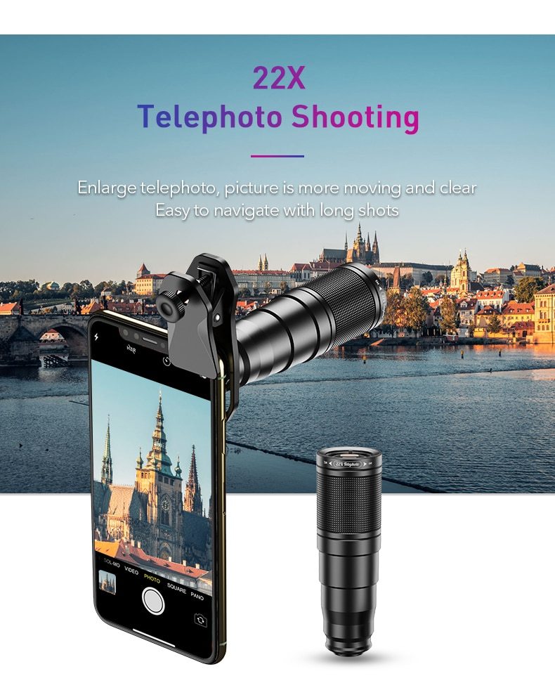 APEXEL New With Remote Tripod HD Phone Camera Lens Kit 4in1 Telephoto Zoom Monocular Telescope 22X Lens Macro Wide Fisheye Lens