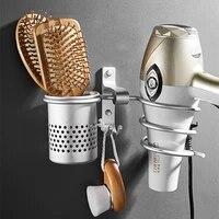 Etagere murale pour seche-cheveux en Aluminium  support mural pour seche-cheveux  accessoires de salle de bain