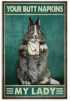 rabbit vintage metal tin signs plaque wall decor bar club novelty funny toilet paper retro parlor posters cafe store 8x12 inch
