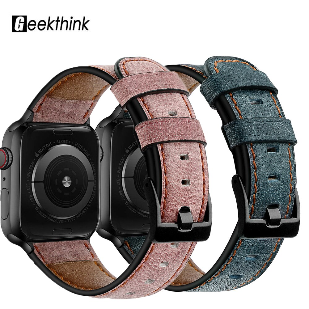 Correa de cuero para Apple Watch 5 4 3 2 Series banda 44 42 38mm 40mm correa de cuero genuino inteligente para iwatch 5 4 3 2 pulsera