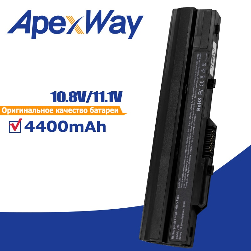 4400mAh Preto Bateria para Msi BTY-S11 BTY-S12 X100 X100-G X100-L para Akoya Mini E1210 Vento U100 U90 Wind12 U200 U210 U230 Preto