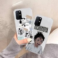 haikyuu volleyball anime phone case transparent for oneplus 7 9 8 t pro