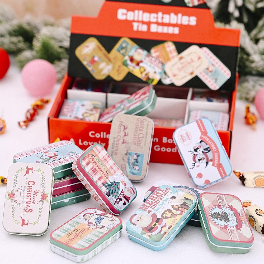 Прямоугольная Рождественская жестяная коробка с Санта Клаусом, снеговиком, герметичная банка, упаковочные коробки, Рождественская Подароч...