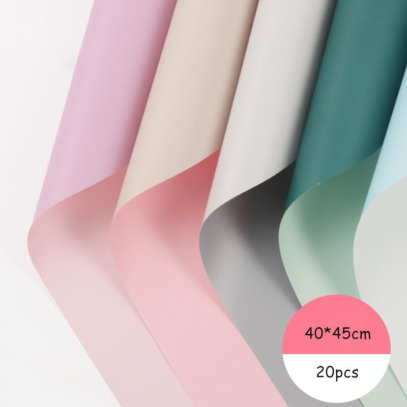 Papel para envolver flores creativo de dos colores a prueba de agua de 20 Uds pequeño empaque de ramo fresco Material serie Ouya papel para envolver