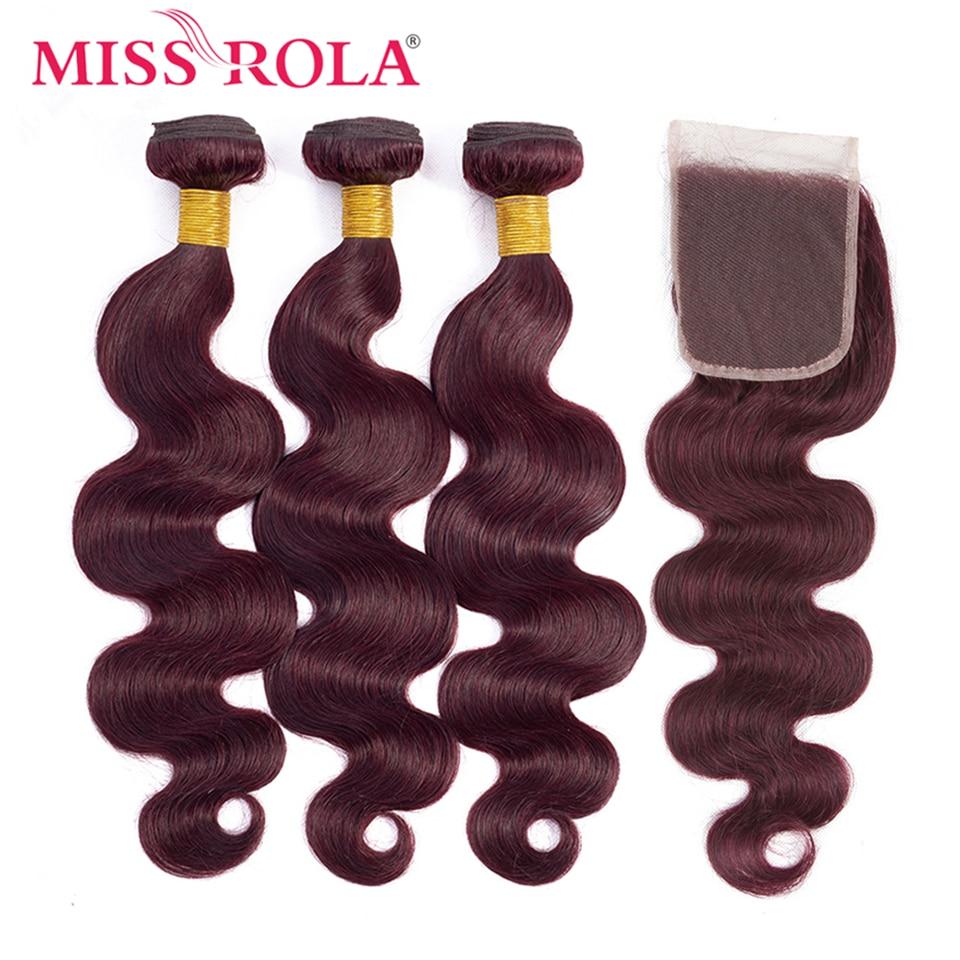 Miss Rola-وصلات شعر برازيلية مموجة 100% شعر طبيعي ، مجموعة من 3 قطع بإغلاق 4*4 ، لون 99J مظلل ، ريمي