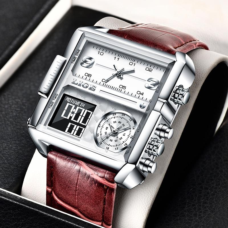 2021 LIGE ساعة رياضية الرجال قمة العلامة التجارية الفاخرة مقاوم للماء ساعة اليد الرجال الكوارتز التناظرية العسكرية الساعات الرقمية Relogio Masculino