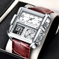Часы наручные LIGE мужские спортивные, роскошные брендовые водонепроницаемые кварцевые аналоговые цифровые в стиле милитари, 2021