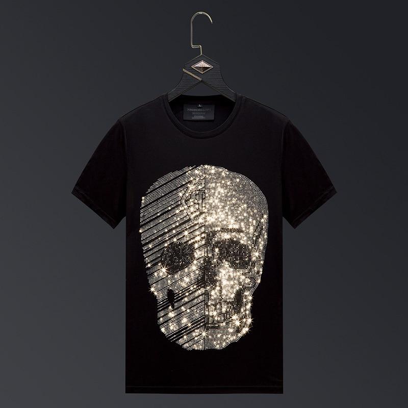 Plus Größe 2020 Mode Schädel Strass T Shirts Männer Marke Kurzarm Mann Streetwear O Hals Dünne T-shirts Camisetas Hombre 6XL