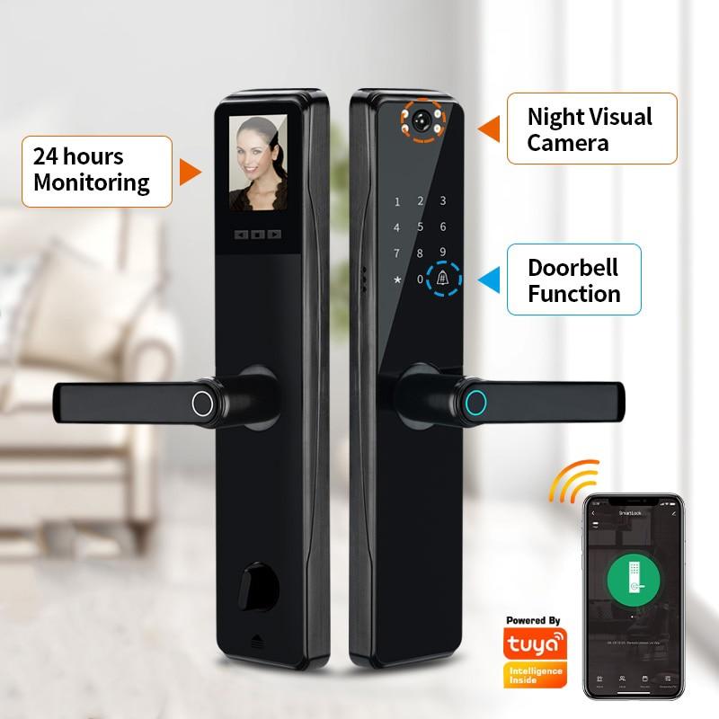 Get Camera Monitoring Lock Tuya Biometric Fingerprint, Security Intelligent Smart Lock With WiFi APP Password RFID Door Lock