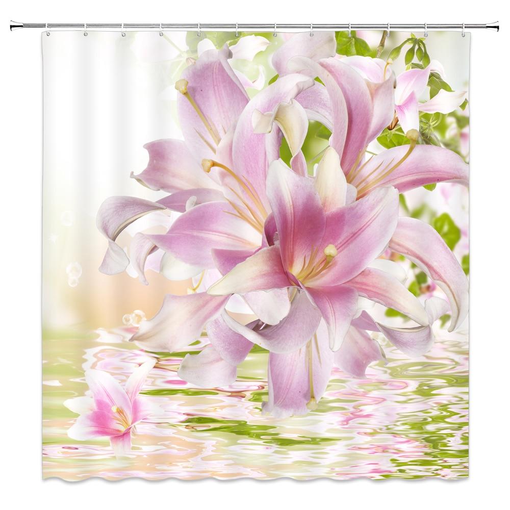Flor, rosa, tulipán Cortina de ducha 3D impreso baño impermeable tela de poliéster decoración del hogar de alta calidad Cortina de ducha