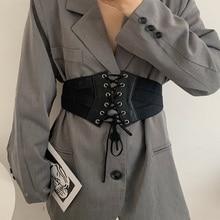 Retro Elastic String Belt Women's Black Dress Sweater Suit Coat -Tight Waist Seal Decorative Wide