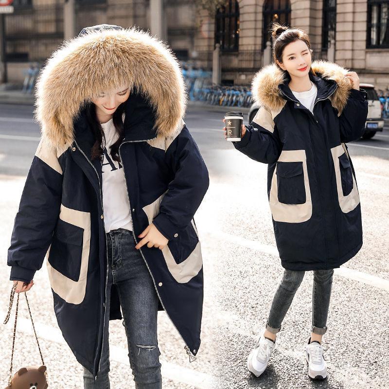 Женская Стеганая куртка, зимняя Молодежная Свободная куртка средней длины с большим меховым воротником в Корейском стиле