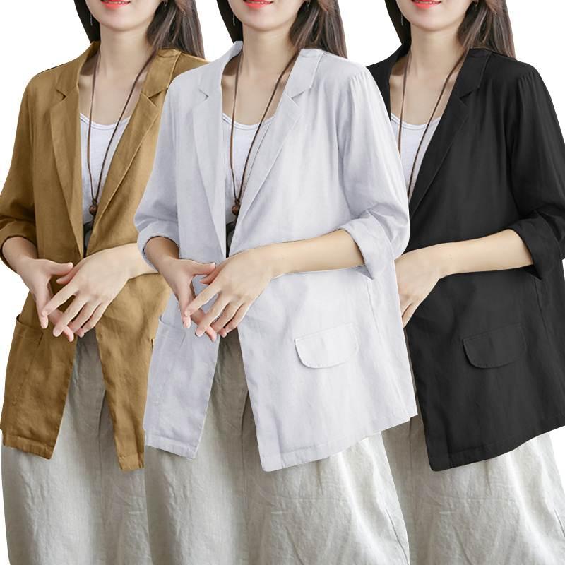 Plus Size Tops de Algodão Blazers ZANZEA Moda 2019 Single-botão das Mulheres Casacos de Moda 3/4 Manga Outwaer Jaquetas Femininas s-5XL