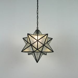 Novelty Loft Star Pendant Light Fixture Luminaire Crystal Frosted Glass 3D Geometry Hanging Lamp Aisel Corridor Home Decoration