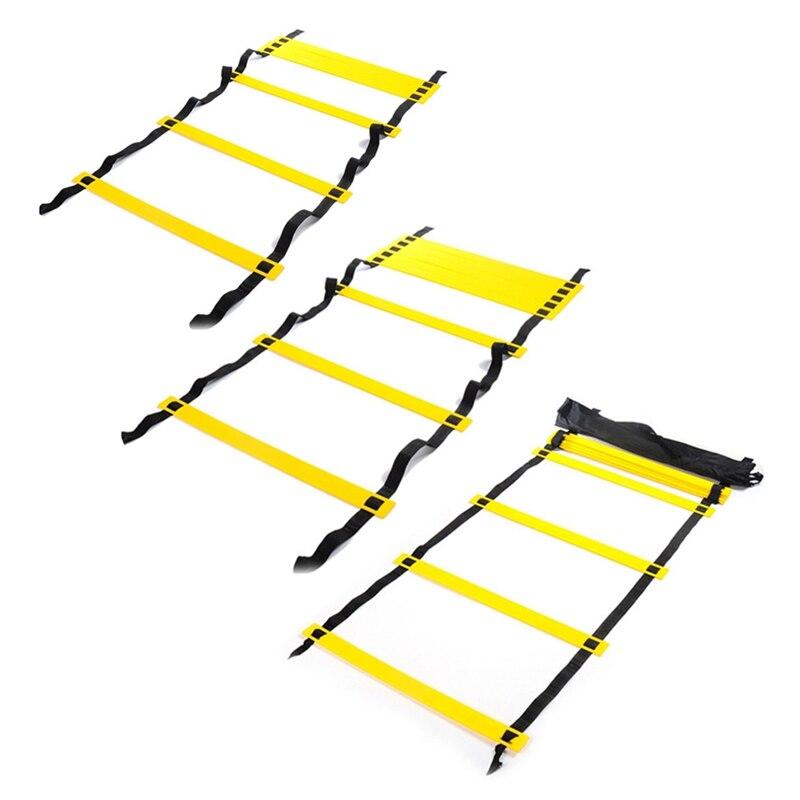 Скорость Ловкость Лестница для прыжков с нейлоновыми ремешками обучение лестницы для Фитнес уличного футбола Футбол скорость лестница обо...