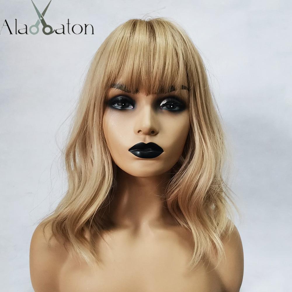 ALAN EATON Medium Bobo Cosplay Blonde Wigs with Bangs Woman Synthetic Hair Wigs Wavy Cute Lolita Cosplay Female Daily False Hair