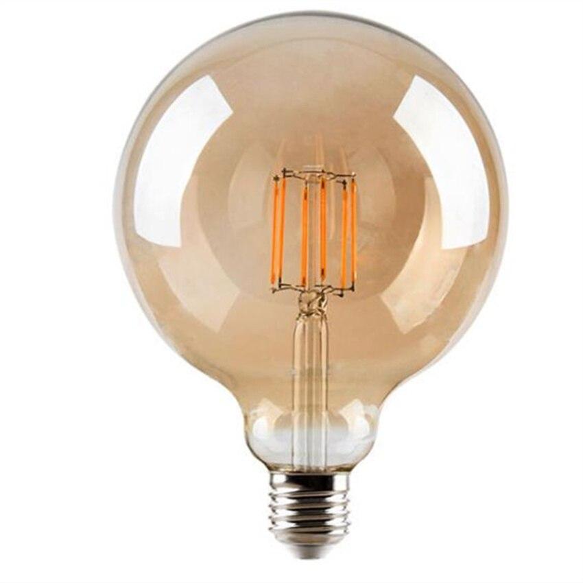 Dimmable Large LED Globe Bulb 60W Equivalent 600LM, 2200K warm white E26 Medium Base, Vintage Edison Clear Glass LED Filament enlarge