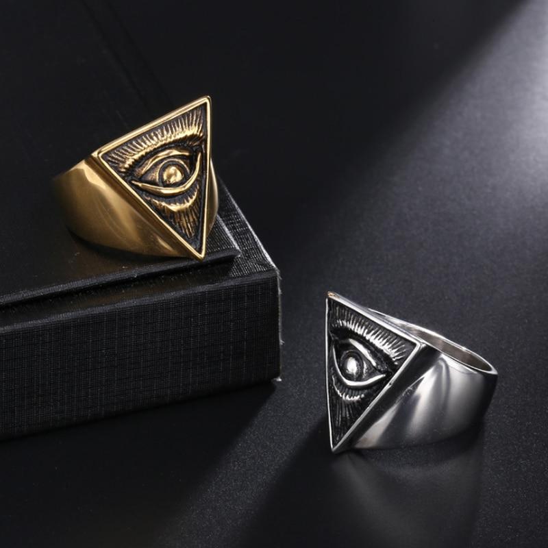 Vintage Freimaurer All Seeing Eye Ring Auge von Providence Gold Silber Farbe Edelstahl Biker Ring Männer Frauen Freimaurer Schmuck